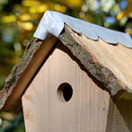 BGO Natural Bird Box in seasoned oak with cleft oak roof and lead flashing. £40